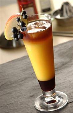 Apple Sunrise...  1cl Lemon Juice    1.5cl Creme De Cassis    5cl Calvados    Top up Orange Juice