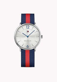825018ccb Canvas Strap Watch Listras Vermelhas, Estilo Casual Para Homens, Tommy  Hilfiger Relógios, Marinha