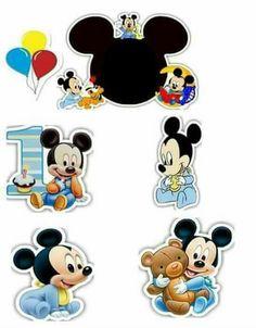 Bolo Mickey Baby, Festa Mickey Baby, Mickey Mouse Cake Topper, Mickey Mouse Stickers, Mickey Baby Showers, Mickey Mouse 1st Birthday, Baby Mouse, Mickey And Friends, Baby Scrapbook