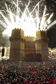 La crida en les torres de Serrans de Valencia. One of the best festivals in Spain. Wonderful photo to show how packed the streets are.