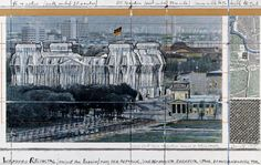 """Christo Wrapped Reichstag (Project for Berlin) Collage 1995 14 x 22"""" (35.5 x 56 cm) Pencil, enamel paint, wax crayon, photograph by Wolfgang Volz, charcoal, map, fabric sample and tape"""