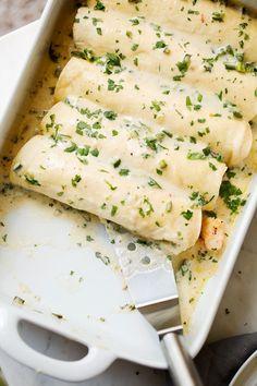 Shrimp Enchiladas with Creamy Poblano Sauce - from Little Spice Jar