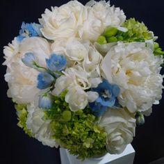 #BridalBouquet by #LiliesWhite. #WhitePeonies #Roses #Freesia #Hydrangea #delphinium