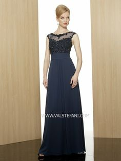 08b4a2fae7c8 Beaded special occasion dress with illusion neckline, mother of the bride  dress, Val Stefani Style