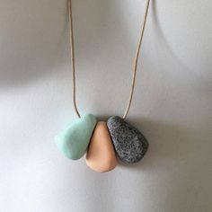 Polymer clay pebble necklace Mint/Peach/Granite