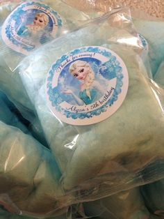 Frozen Birthday Party cotton candy favors! See more party ideas at CatchMyParty.com!