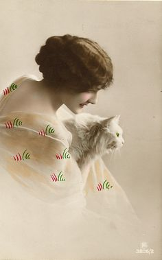 Vintage Cat and women-same model and cat, different pose as previous