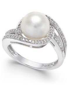 White Cultured Pearl (9mm) And Diamond (1/3 Ct. T.w.)