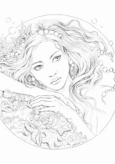 Free Adult Coloring Pages, Coloring Book Pages, Coloring Sheets, Human Figure Drawing, Geometric Drawing, Color Quotes, Color Pencil Art, Mermaid Art, Drawing People