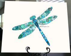 Dragonfly Button Art with Swarovski Rhinestones by Belle Papier #buttons…