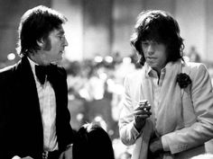 John Lennon and Mick Jagger during American Film Institute Salute to James Cagney at Century Plaza Hotel, 1974. (Photo by Ron Galella)