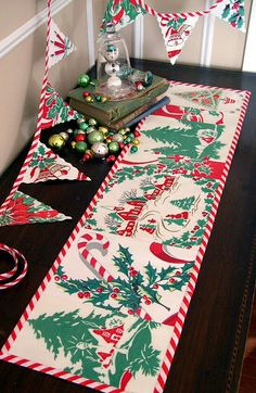 30 Chic Retro Christmas Decoration Ideas - Christmas Celebration - All about Christmas Retro Christmas Decorations, Christmas Table Cloth, Christmas Banners, Christmas Holidays, Christmas Ornaments, Christmas Mantles, Holiday Banner, Christmas Villages, Christmas Christmas