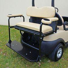 Club Car Precedent Super Saver Rear Flip Seat Kit for Golf Cart Beige Cushion Golf Cart Seats, Golf Trolley, Golf Carts, Ladies Golf Clubs, Used Golf Clubs, Utility Bed, Beige Cushions, Seat Cushions, Golf 6