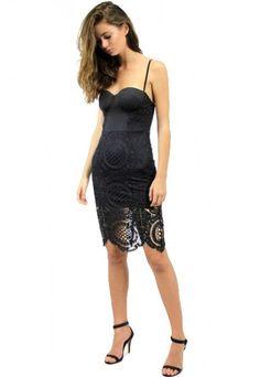 Endless Love Lace Bustier Dress - Black