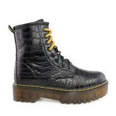 Αρβυλάκια Daisy κροκό μαύροαπό συνθετικό δέρμα.Είναι διακοσμημένα με μαύρο και κίτρινο κορδόνι που αλλάζουν ανάλογα με το outfit σας ... Dr. Martens, Hiking Boots, Combat Boots, Shoes, Fashion, Walking Boots, Moda, Combat Boot, Zapatos