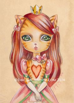 Princess Cinnamon LIMITED EDITION only 25 print signed numbered Simona Candini lowbrow pop surreal big eyes art  red cat heart Valentine