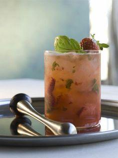 Strawberry Shag drink - basil, strawberries, vodka, lemon juice, soda