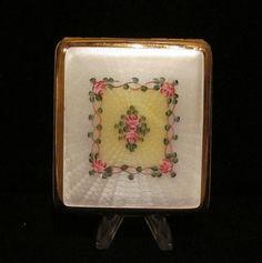 Vintage White & Yellow Guilloche Enamel  Floral Motif La Mode Cigarette Case 1930s