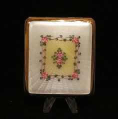 Vintage White & Yellow Guilloche Enamel  Floral Motif La Mode Cigarette Case 1930s
