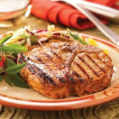 Sweet Mustard Chops Recipe - These pork chops are perfect for company because they marinate overnight in a special barbecue sauce. Then just pop them on the grill when you're ready to eat. They're fast and flavorful.