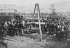 "The Cardiff Giant was one of the most famous hoaxes in United States history. It was a 10-foot (3.0 m) tall purported ""petrified man"" uncovered on October 16, 1869 by workers digging a well behind the barn of William C. ""Stub"" Newell in Cardiff, New York. Both it and an unauthorized copy made by P.T. Barnum are still on display."