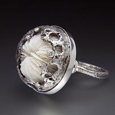 "Ring | Aleksandra Vali.  ""Le Mirage"".  Oxidized Sterling Silver, Mushroom Coral, Diamonds"