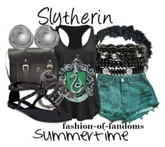 """""""Slytherin"""" by fofandoms ❤ liked on Polyvore featuring Mixit, The Cambridge Satchel Company, Levi's, Steve Madden, CARAT*, women's clothing, women's fashion, women, female and woman"""