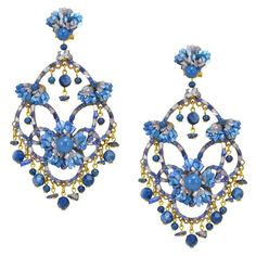 Blue Mineral and Mother of Pearl Pendant Earrings by DUBLOS