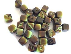Vintage beads (24) Picasso glass cube green brown chocolate earthy West German two tone bead 6x6mm (24) by a2zDesigns on Etsy