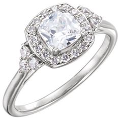 14kt White 1/3 CTW Diamond Semi-mount Engagement Ring for 6.5mm Round Center #Bridal #Engagement   Locate a Jeweler here: http://www.stuller.com/locateajeweler?searchTerm=locate%20a%20jeweler