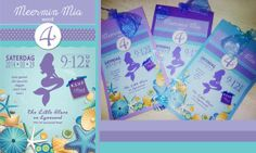 Pretty Mermaid Party Invitations with crystal shell favour