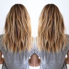 Frisuren Layered, Brown, Blonde Balayage - Shoulder Size Coiffure for Thick A Cocktail Cos Pelo Midi, Long Layered Haircuts, Long Choppy Haircuts, Mid Length Hairstyles, Choppy Lob, Blonde Balayage, Balayage Color, Brown Balayage, Blonde Highlights