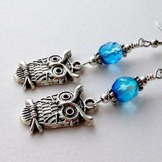 Owl Earrings Owl Jewelry Blue Owl Earrings Owl by silverthaw, $12.50