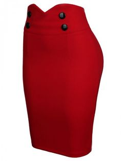 Slit Decorative Button Solid Pencil Midi Skirt In Red Pencil Skirt Outfits, High Waisted Pencil Skirt, Pencil Skirts, Pencil Skirt Black, Fitted Skirt, Dress Skirt, Midi Skirt, Denim Skirt, How To Wear Blazers