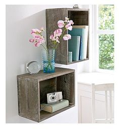 Wooden Crate Storage Bedrooms Night Stands Ideas For 2019 Crates On Wall, Milk Crate Shelves, Wooden Crate Shelves, Crate Storage, Wall Shelves, Record Storage, Rustic Shelves, Wooden Crates, Wall Boxes