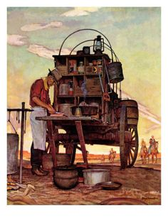 "Giclee Print: ""Chuckwagon,"" Saturday Evening Post Cover, September 1946 by Mead Schaeffer : Western Film, Western Theme, Canvas Art Prints, Painting Prints, Westerns, Steampunk, Into The West, Chuck Wagon, West Art"