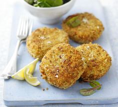 You can't beat these handmade fish cakes, perfect with a squeeze of lemon, from Good Food Magazine. Fish Dishes, Seafood Dishes, Fish And Seafood, Fish Recipes, Seafood Recipes, Cooking Recipes, Healthy Recipes, Freezable Recipes, Freezer Recipes