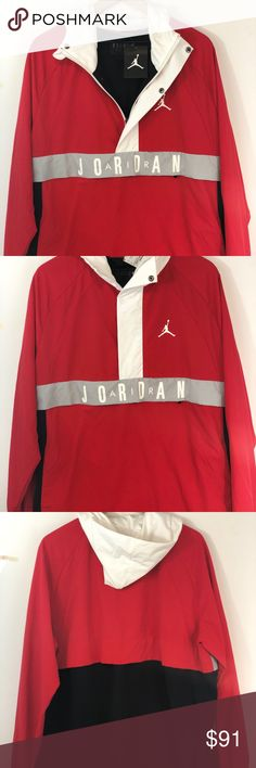 c948bf28cf62d3 Nike Wings Air Jordan Anorak Red Pullover L Nike Air Jordan Anorak Wind  Pullover Jacket Unused