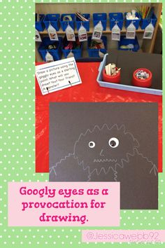 Using googly eyes as a provocation for drawing.
