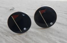 Vintage Golf Enamel Silver Cufflinks Gift For Groomsmen, Groom, Dad, Husband. by LittleLinkShop on Etsy
