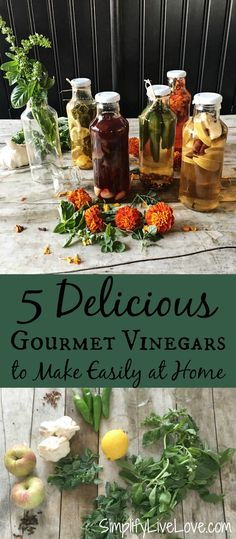 These 5 homemade gourmet vinegar flavors make the perfect edible gifts. They are beautiful and easy, perfect for marinades, salad dressings, & more! We are want to say thanks if you like to share this post to another people via your. Frugal Meals, Easy Meals, Real Food Recipes, Healthy Recipes, Herb Recipes, Delicious Recipes, Flavored Oils, Infused Oils, Cleaning Recipes