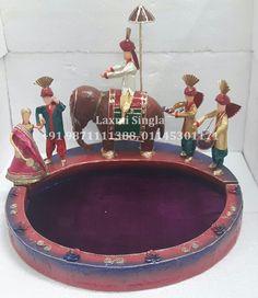 Indian Wedding Tray Rs.4800 Paper Mache Crafts, Wedding Plates, Engagement Decorations, Wedding Crafts, Diy Hacks, Wedding Designs, Decorative Bowls, Christmas Ornaments, Holiday Decor