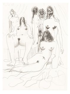 George Condo (American, b. 1957), Orgy Composition, 2003. Pencil on paper, 31.7 x 24 cm