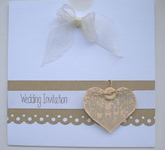 handmade wedding invitation french shabby chic rustic  natural and apricot colors