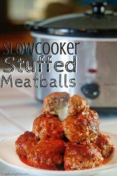 Slowcooker Cheesy Stuffed Meatballs