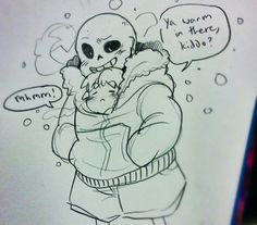 "by sketchkun: ""FRISK IN SANS' JACKET MORE LIKE I'M DYING FROM THE CUTENESS!"""