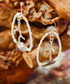 pearl, abalone, sterling and white bronze branch earrings | Valerie Kagan Handmade