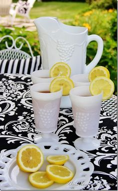Using my mom's milk glass pitcher and glasses for lemonade this summer !