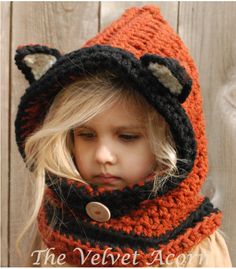 CROCHET PATTERN-Flint Fox Cowl (12/18 months, Toddler, Child, Adult sizes) by Thevelvetacorn on Etsy https://www.etsy.com/listing/171948192/crochet-pattern-flint-fox-cowl-1218