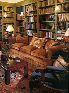 Trendy Home Library Furniture Bookcase Wall Cozy Home Library, Home Library Rooms, Home Library Design, Home Libraries, Home Design, Design Desk, Home Interior, Interior Design, Interior Livingroom